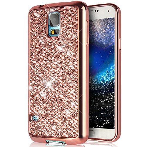 ikasus Coque Galaxy S5/S5 Neo Etui Brillant scintillement bling Briller Glitter paillettes Placage Gel Silicone TPU avec Cadre Brilliant Chromé Etui Coque Housse pour Galaxy S5/S5 Neo Etui,Or Rose