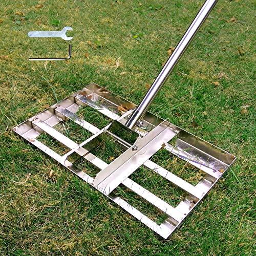 SurmountWay Lawn Leveling Rake, 5FT Lawn Leveling Rake with Stainless Steel Pole, Heavy Duty Stainless Steel Lawn Leveler, Suit for Garden Backyard Golf/Lawn(5FT,17 X10In)