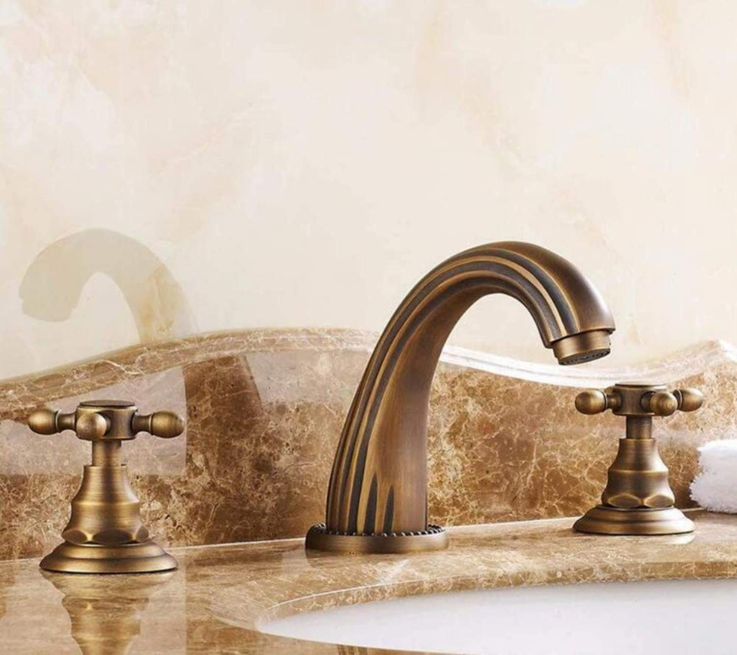 Faucetretro Faucet Mixer All Copper Three Holes Basin Faucet Antique Inches Washbasin Faucet Double Basin Split The Hot and Cold Water