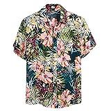 (C07,XL)アロハシャツ メンズ ビーチシャツ 半袖シャツ 速乾 超軽量 プリントシャツ 夏 イベント 祭り 和柄シャツ ハワイアンシャツ UVカット 紫外線対策加工