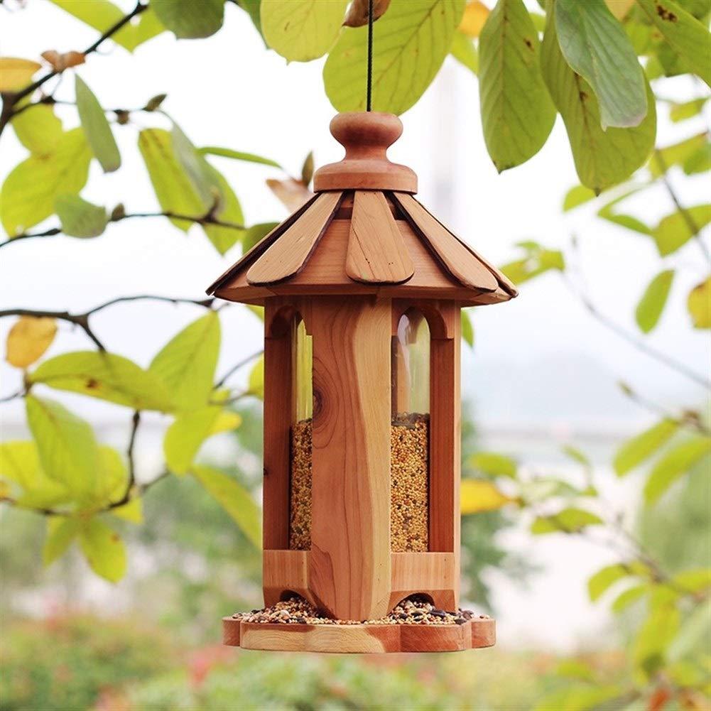 7°MR casa pajaros Alimentador de pájaros de Madera Villa jardín decoración guía pájaro alimentador automático contenedor de alimentación de Aves: Amazon.es: Jardín