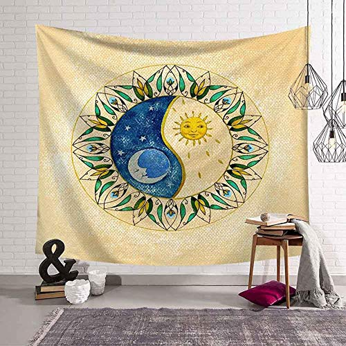N / A Black and white sun moon tapestry psychedelic celestial indian sun hippie hippie tapestry wall hanging bedspread decoration tapestry background cloth A1 130x150cm