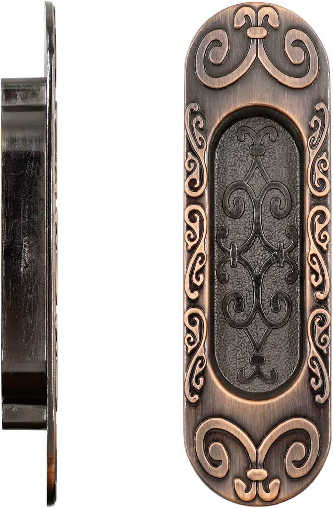Cyful 2pcs Oval Recessed Finger Flush Pulls Recessed Sliding Pocket Door Plate Cabinet Drawer Pulls Handles Antique Copper 96mm//3.77 Mounting Distance