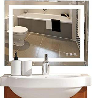 36×28in. Dimmable Led Illuminated Bathroom Mirror Led Lighted Wall Mounted Bathroom Vanity Mirror with Touch Button&Anti-Fog&Bluetooth Speaker| Hangs Vertically or Horizontally
