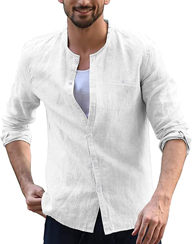 Men Casual Linen Button-Down Shirt Jacket Fashion Long Sleeve Slim Fit Business Shirt Beach Tops