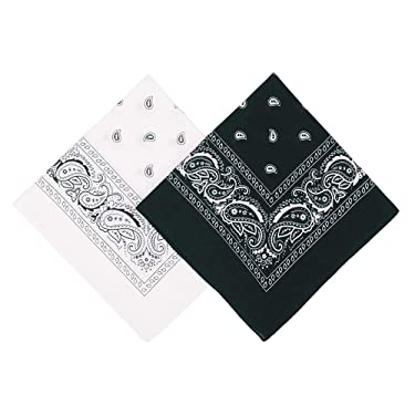 "Umo Lorenzo 2 Color Pack Bandanas for Men & Women, 21 x 21"" - 100% Cotton Bandana + Multi-use Bandanas"