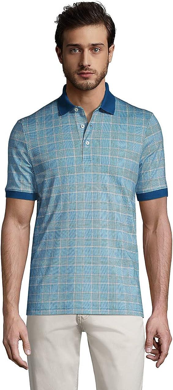Lands' End Men's Short Sleeve Jacquard Super Soft Supima Polo Shirt