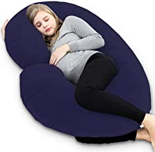 Kuber Industries Cotton Ultra Soft Hollow Fibre C Shaped Maternity Pillow,Pregnancy Pillow,Body Pillow with Zippered Cover (Navy Blue)-CTKTC39237
