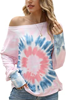 Cucuchy Womens Tie Dye Sweatshirt Off the Shoulder Top Long Sleeve Shirt Pullover