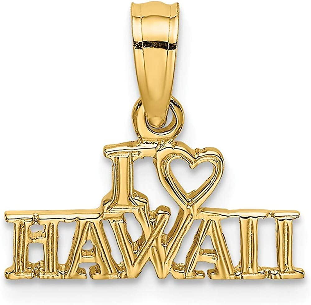 14K Yellow Gold I Pendant Complete Free Shipping Ranking TOP9 Heart Hawaii