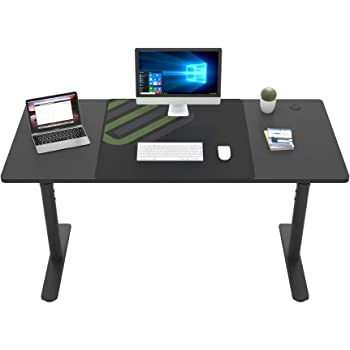 Ergonomic Computer Desk,60 inch Mechanical Height Adjustable Standing Up Desk for Home Office, Widen Space Gaming Desk with Mouse Pad,Modern Study Writing Desk PC Laptop Computer Workstation,Black