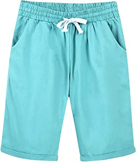 Women's Summer Elastic Waist Casual Knee Length Curling Bermuda Shorts with Drawstring Turquoise Tag XXL-US XL