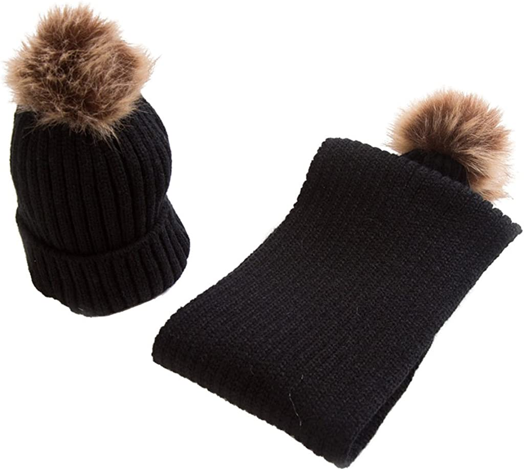Milageto Baltimore Mall Toddler Kids Baby Winter Warm Bobble Pom Finally popular brand Knit Hat Beani