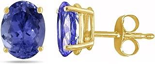 Oval Tanzanite Earrings in 14k Yellow Gold (7x5 mm)