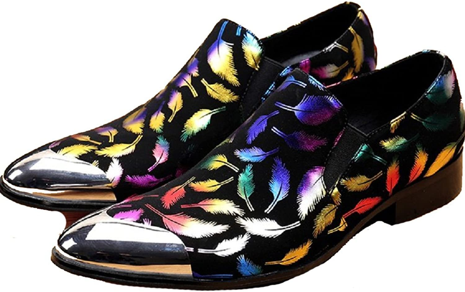 Size 5-12 New Black colorful Art Print Genuine Leather Dress Loafers Mens shoes