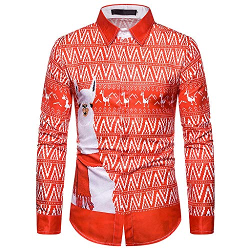 Fxbar Christmas Men's Shirt Top Blouse Fake Two Pieces Snowflakes Printed Christmas Printed Shirt (RedC,XXXL)