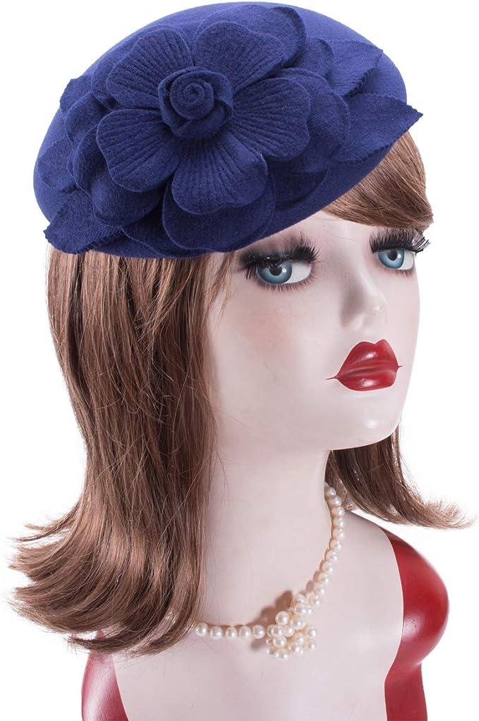 1950s Women's Hat Styles & History Lawliet Flower Womens Dress Fascinator Wool Pillbox Hat Party Wedding A083  AT vintagedancer.com