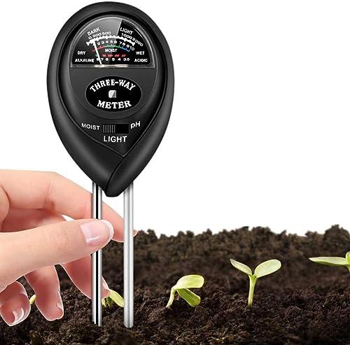 Soil Test Kit, 3-in-1 Soil Moisture Light PH Tester Gardening Tool Kits for Home, Garden, Farm, Indoor & Outdoor Use,...