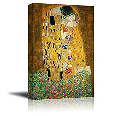 Wall26 Canvas Print Wall Art - The Kiss by Gustav Klimt Giclee Printed Famous Painting on Stretched Gallery Wrap - 24  x 36