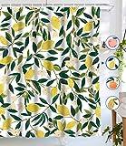 Lifeel Lemon Duschvorhänge, Allover Fruits Duschvorhang grüne Blätter Pflanzen-Design, wasserdichter Stoff, Badezimmer-Duschvorhang Set mit 12 Haken, grün gelb 182,9 x 182,9 cm