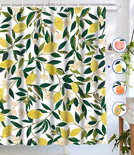 Lifeel Duschvorhang, Zitronengelb, Obst, Duschvorhang, grüne Blätter, Pflanzendesign, wasserdichter Stoff, Badezimmer-Duschvorhang-Set mit 12 Haken, grün-gelb, 183 x 183 cm