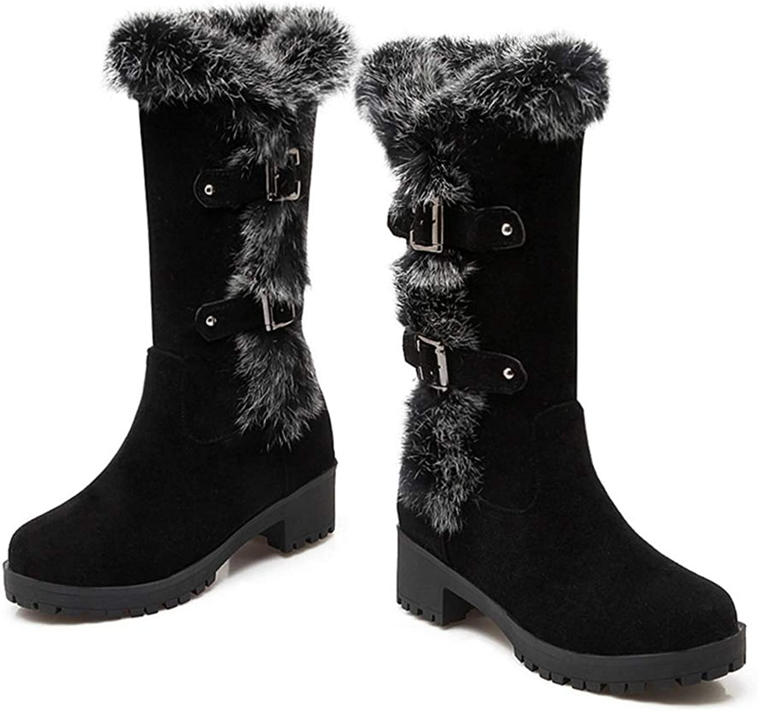 Women's Mid-Calf Boots Winter Square Heel Round Toe Female shoes Plush Warm Fashion Buckle Boot