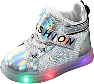 Sceoyche Kids LED Light Shoes, Baby Luminous Sport Boots Breathable Lace-up Outdoor Shoes Non-slip Walking Shoes Toddler S...