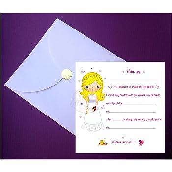 L/ímpias y Bonitas para que /¡Sus Amiguitos Alucinen Pack 15 invitaciones + 15 sobres - Invitaciones y Recordatorios para Primera Comuni/ón Ni/ña Rubia