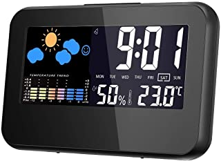 Temperature Monitor, Thermometer Hygrometer Gauge with Digital Clock and Alarm Clock-Black