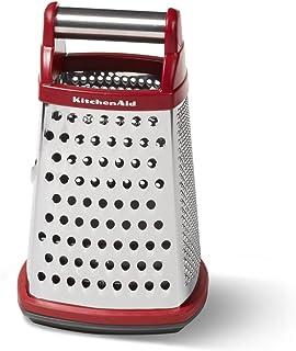 KitchenAid Ralador de caixa de aço inoxidável de 4 lados Gourmet com recipiente de armazenamento removível, pequeno, vermelho