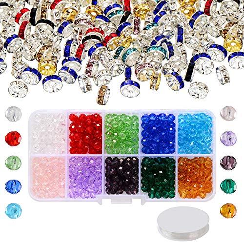 Zasiene 500 Pezzi 6mm Perle di Vetro Pietre per Bigiotteria Sfaccettata Cristallo Perline con 150 pezzi 6 mm Perline Distanziatori Perline per Bigiotteria per Creazione di Gioielli
