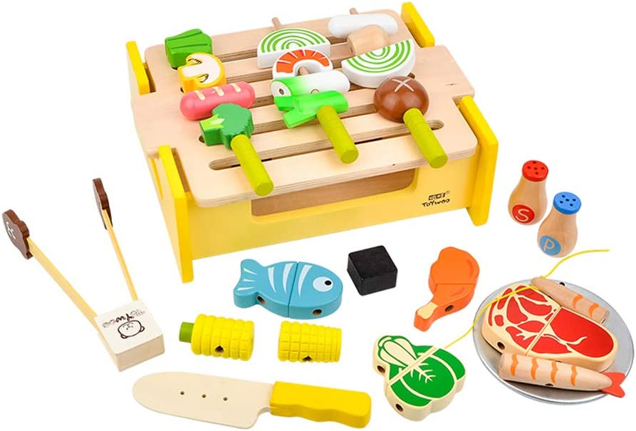 Baosity Wooden Max 43% OFF Cutting Food Toys and Shipping included Grill Kit Play BBQ Pretend