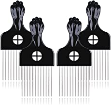 Afro Pick - Hair Pick, Metal Picks for Hair, Afro Combs Detangle Wig Braid Hair Styling Comb, Hair Picks for Curly Hair (4...