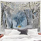 Baccessor Snow Forest Tapestry Winter Trees in Snowy Jungle White Trees Woodland Fantasy Elk Rustic Vintage Nature Scenery Tapestries for Bedroom Living Room Dorm Wall Decor, 90W x 71L Inch