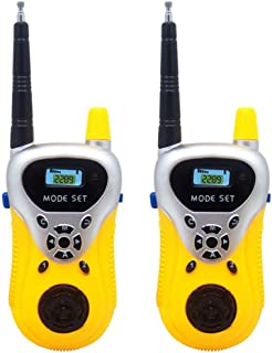 Tiean 2Pcs Wireless Walkie Talkie Kids Electronic Toys Portable Two-Way Radio (Yellow)