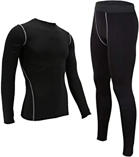 Mens 2-Pack Compression Base Layer Set T-Shirt Long Johns Athletic Cool Dry Running Tights