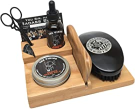 Badass Beard Care The Loaded Full Size Caddy Features Our Handmade, Solid Bamboo Caddy - Includes 1oz of Beard Oil, 2oz of Beard Balm or Wax, Comb, Boars Hair Brush & Mustache Scissors of Your Choice
