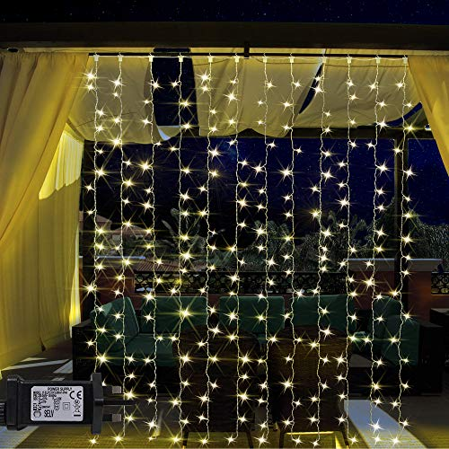 ANSIO Christmas Lights 304 LED Window Curtain Lights, 3Mx3M Fairy Lights Plug in, 8 Modes String Lights for Xmas/Party/Home/Bedroom/Decoration Warm White