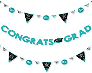 Teal Grad - Best is Yet to Come - 2019 Turquoise Graduation Party Letter Banner Decoration - 36 Banner Cutouts and Congrats Grad Banner Letters