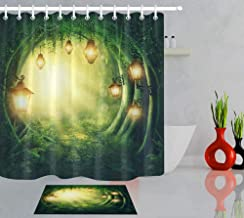ABCZZ Shower Curtain Street Light And Green Road In A Magic Dark Forest Shower Curtains Bathroom Curtain Fairy Waterproof Fabric For Bathtub Decor
