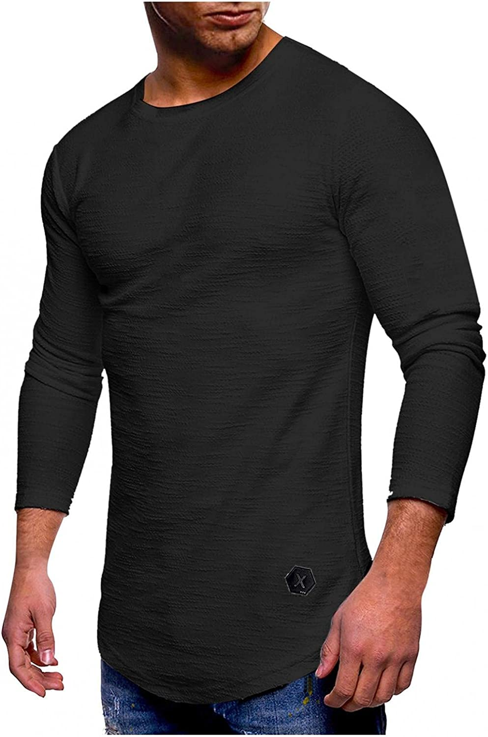 KEEYO Mens Crewneck Muscle T-Shirts Casual Slim Fit Long Sleeve Bodybuilding Gym Workout Athletic Fall Shirts Tops
