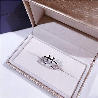 LYWZX Anello Regolabile Donna,Anelli Aperti Doppio Strato H in Argento Sterling 925 di Moda per Gioielli da Festa per Ragazze