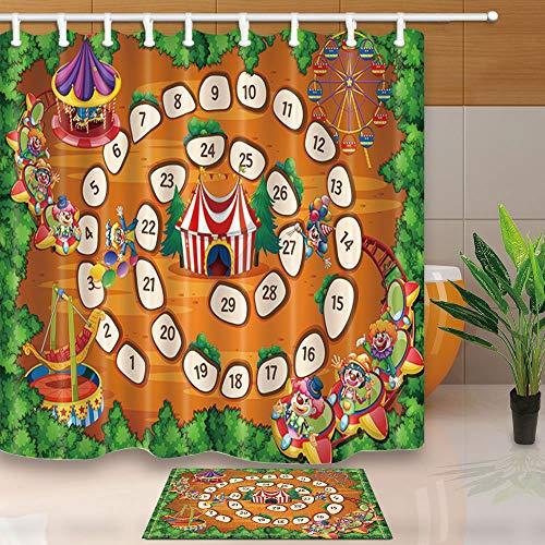 mintlmk Illustratie van een bordspel met carnaval achtergrond 71X71in polyester stof douche gordijn pak met 15.7x23.6in flanel anti-slip vloer deurmat bad tapijten