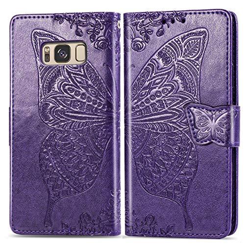 Jeewi Hülle für Galaxy S8 Hülle Handyhülle [Standfunktion] [Kartenfach] [Magnetverschluss] Tasche Etui Schutzhülle lederhülle klapphülle für Samsung Galaxy S8/G950F - JESD020431 Violett
