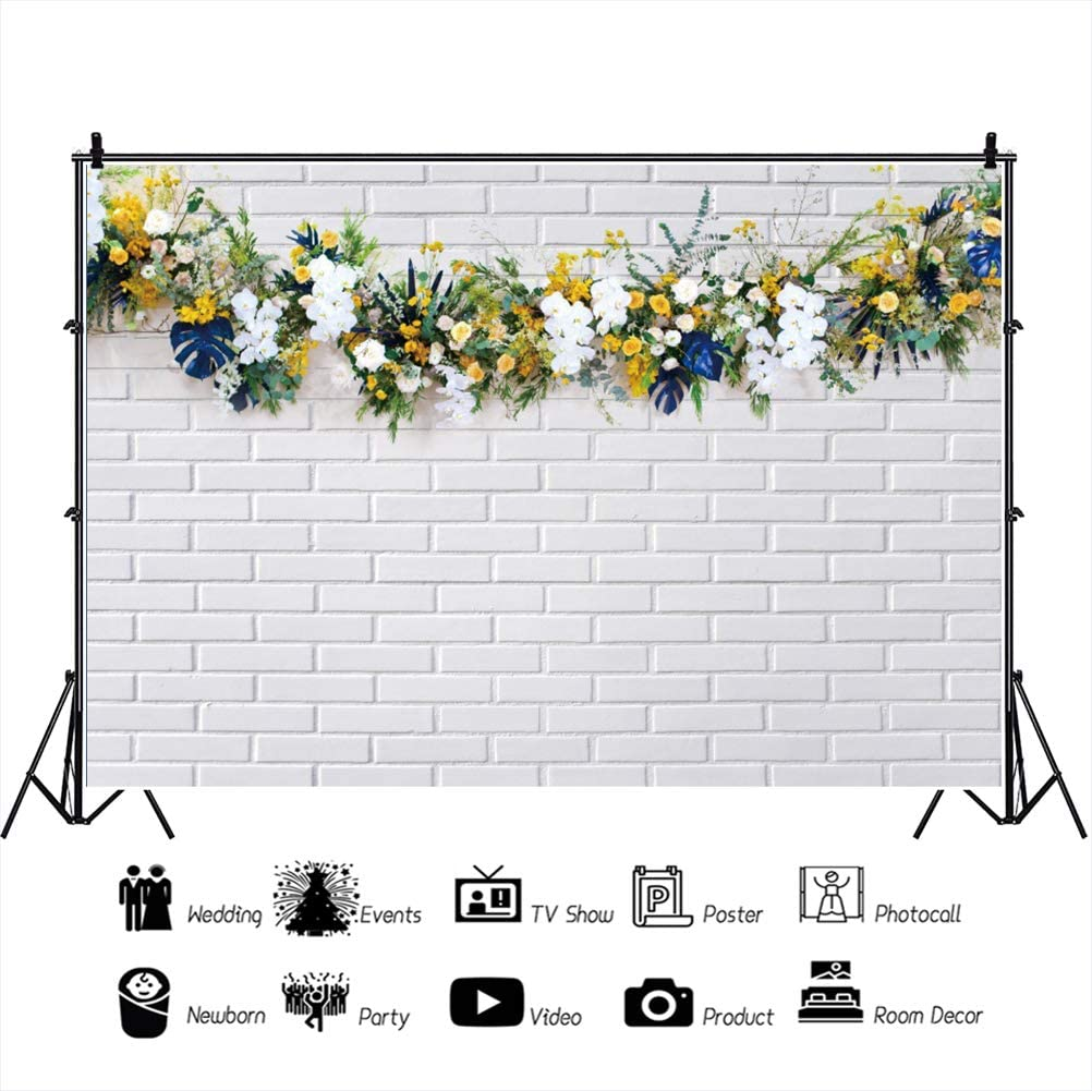 DORCEV 12x10ft White Rustic Brick Wall Photography Backdrop Flower Leaves Wedding Ceremony Party Background Birthday Party Baby Shower Cake Table Banner Decoration Photo Studio Props Wallpaper