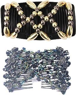 Careor, 2 pettini magici da donna, dorati + nere, elastici a doppio lato, per chignon, accessori per capelli