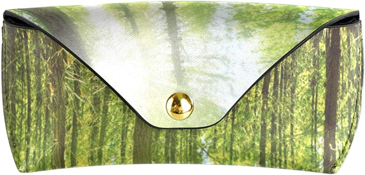 Multiuse Goggles Bag Sunglasses Case Eyeglasses Pouch Travel Portable PU Leather Sunny Forest