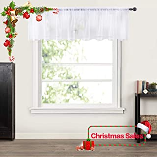 MIULEE Window Valance Half Window Sheer Curtains for Christmas Rod Pocket Semitranslucent Voile Drapes Extra Wide for Small Window Kitchen Cafe One Panel 60 x 18 Inch White