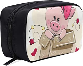 Cute Cartoon Piggy In Love Portable Travel Makeup Cosmetic Bags Organizer Multifunction Case Small Toiletry Bags For Women And Men Brushes Case