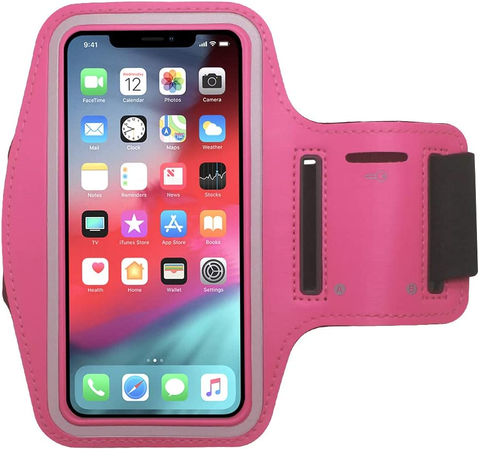 Water Resistant Cell Phone Armband Running Sports Case for iPhone Xs, X, 8, 7, 6S, 6, SE, 5S, 5C, 5, iPod Touch - Adjustable Band, Reflective with Screen Protection (Pink)